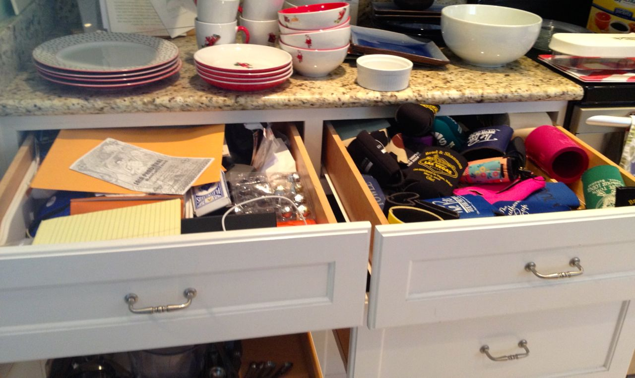 organizing the kitchen junk drawer On kitchen junk drawer