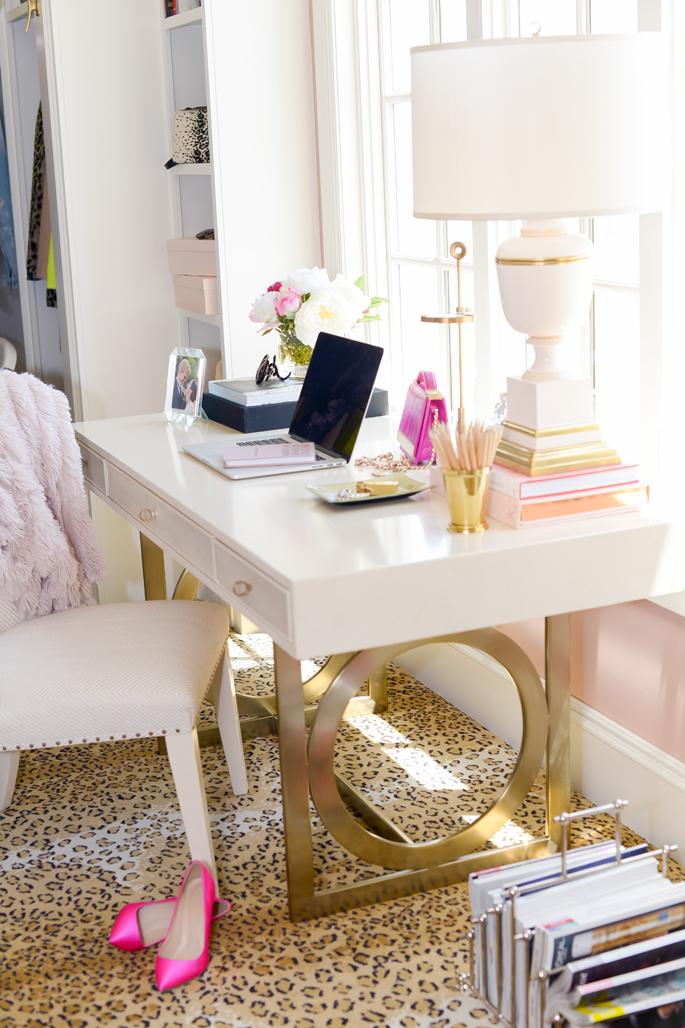 pink peonies gold-bernhardt-desk